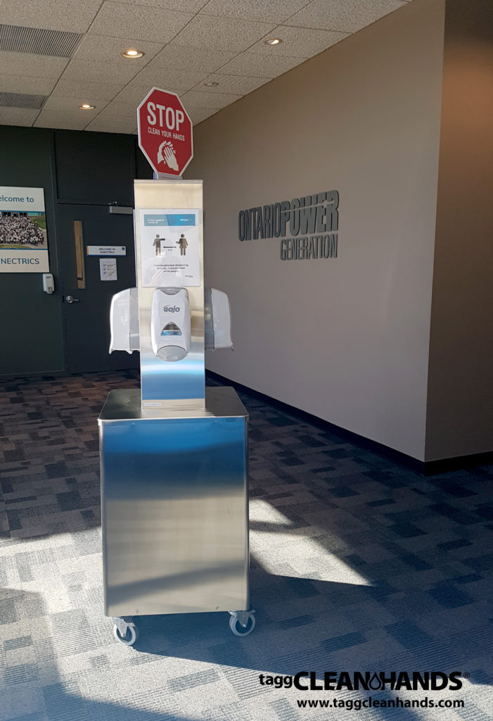 Tagg Clean-Hands Sanitizing Station at OPG Kipling Office